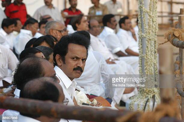 Stalin Minister for Local Administration in Tamil Nadu Government and son of M Karunanidhi Chief Minister of Tamil Nadu with others at the Golden...