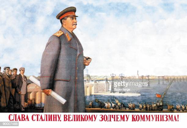Stalin overlooks what was the largest electric power dam in the world at the Dneperpetrovk in the Ukraine near Kiev with electric towers