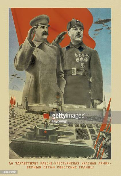Stalin with General Oversees Parade in Red Square