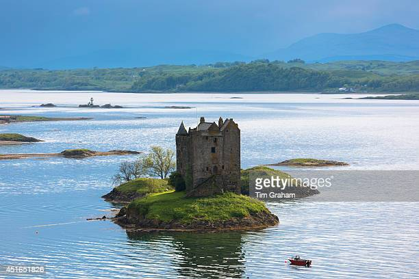 Stalker Castle on Loch Linnhe a highland fortress in late afternoon near Strontian Argyll in the Highlands of Scotland