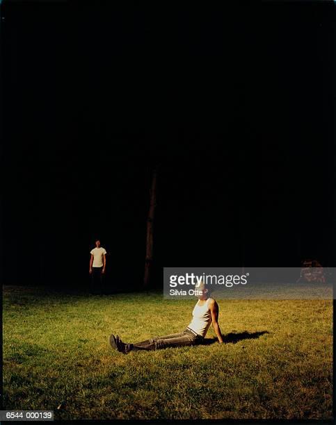 Stalker Near Woman in Field
