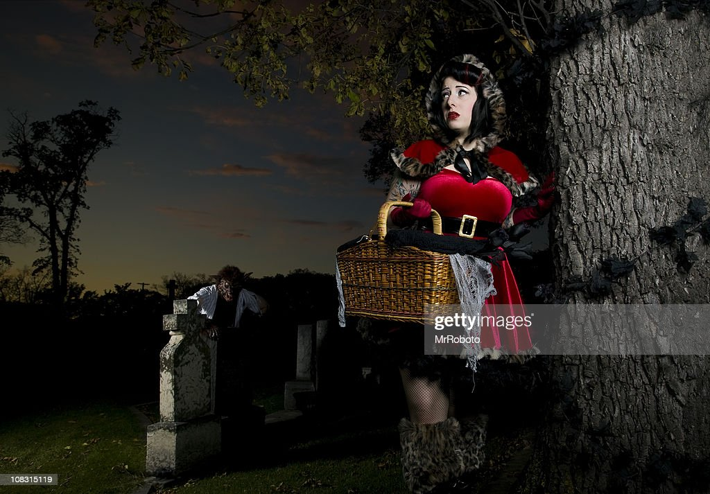 Stalking Red Riding hood : Stock Photo