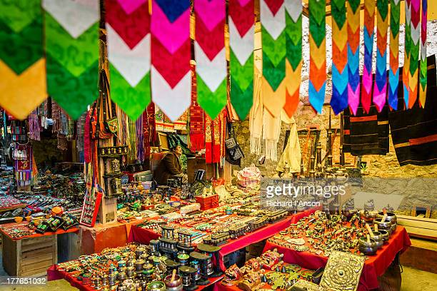 stall at handicraft market - thimphu stock pictures, royalty-free photos & images