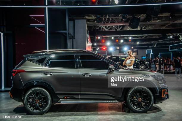 Stall displays car at Auto Expo 2020, on February 5 in Greater Noida, India.
