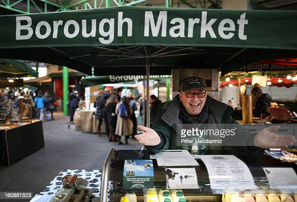 Stall holder Tony Vintner sells milk at Borough Market on February 7 2013 in London England Borough Market London's oldest since 1756 has recently...