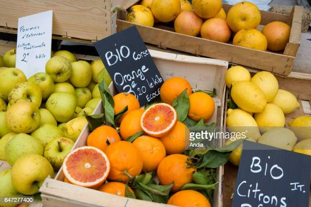 Stall of organic fruits and vegetables on a market in Nice