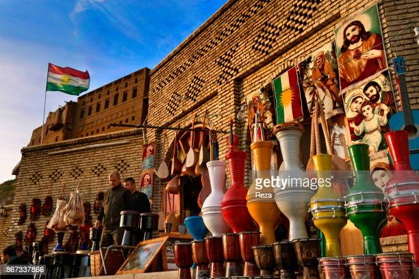 A stall of souvenirs and crafts at the Qaysari bazaar which is situated at the south of the citadel in the center of Erbil Established during the...
