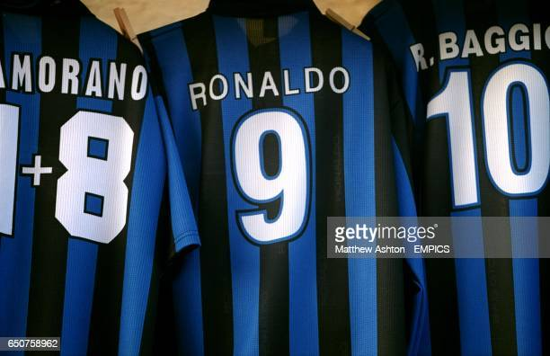 A stall outside the San Siro Stadium in Milano selling Ronaldo souviners Inter shirts