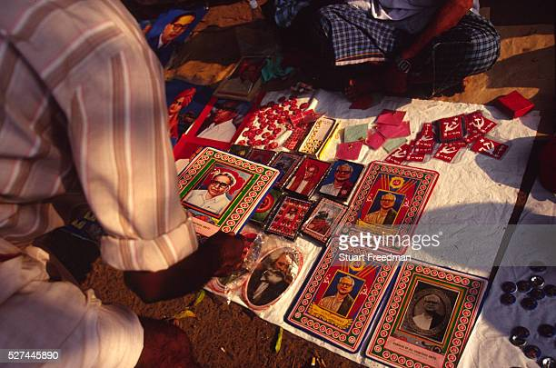 A stall selling Communist Party paraphenalia with the face of EMS Namboodiripad former leader of Communist Party of India CPI Calicut Kerala Since...