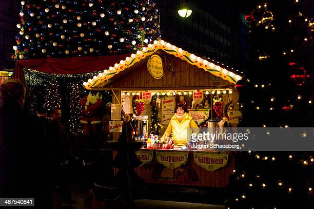 Stall selling festive drinks such as Eierpunsch and Gluhwein at a Christmas market in Berlin, Germany, 2011.