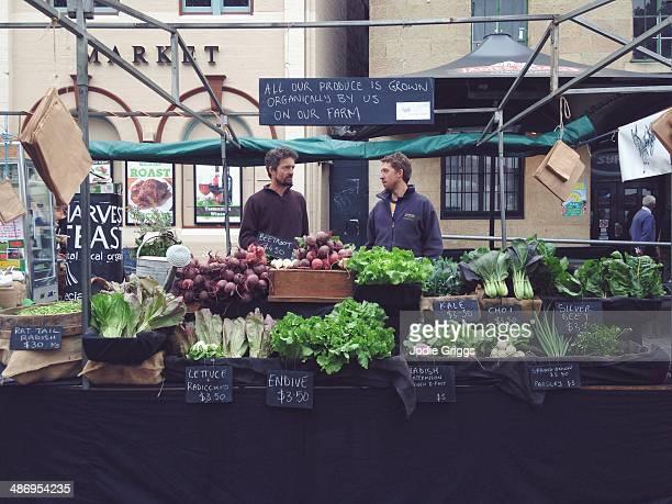 Stall selling fresh produce at Salamanca Market in Hobart