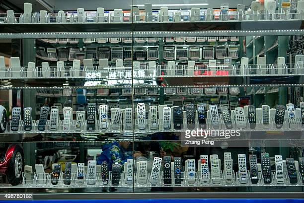 A stall selling telephones in Yiwu China Commodity City Telecommunications made in China are the main category of supplies in the market China...