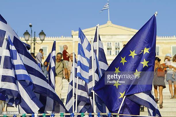 SQUARE ATHENS ATTICA GREECE A stall sells Greek and European flags outside the Greek parliament Thousands of Greeks protested outside the Greek...