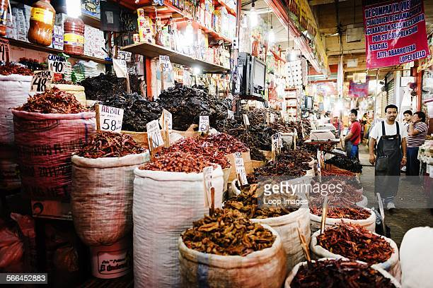 Stall specialising in dried chillies at the Mercado de la Merced in Mexico City.
