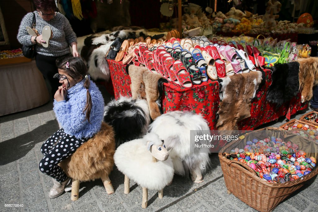 A stall with traditional regional products at Easter Market at the Main Square in Krakow, Poland on 8 April, 2017.