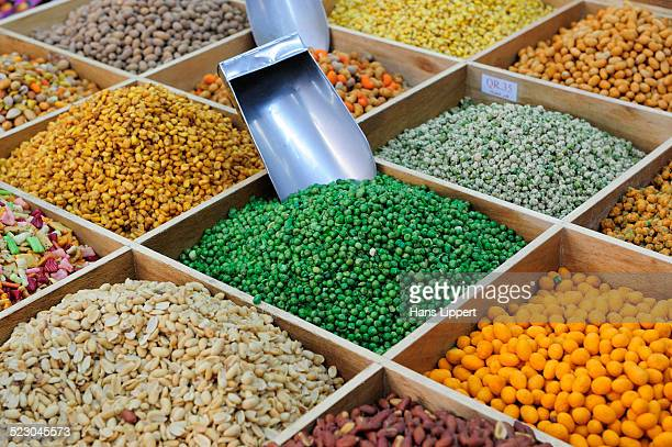 Stall with various nuts, Souq al Waqif, the oldest souq or bazaar in the country, Doha, Qatar, Arabian Peninsula, Persian Gulf, Middle East, Asia