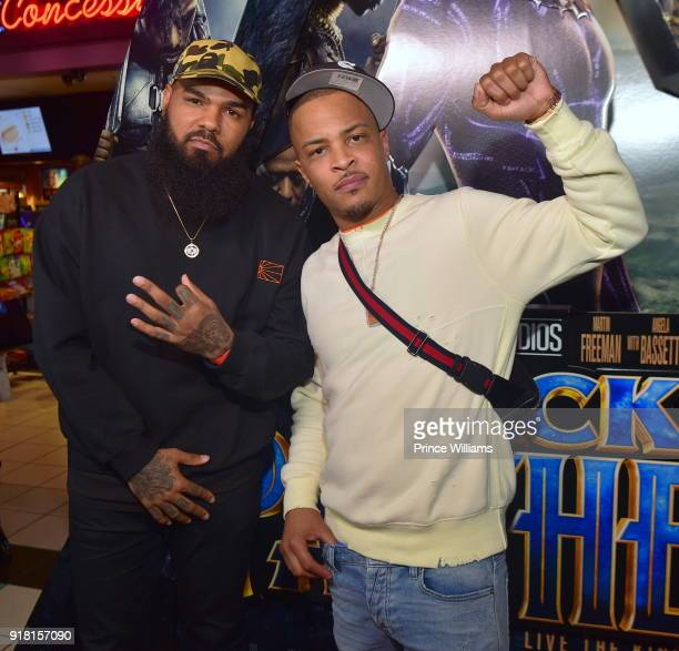 Stalley and TI attend 'Black Panther' Advance Screening at Regal Hollywood on February 13 2018 in Chamblee Georgia