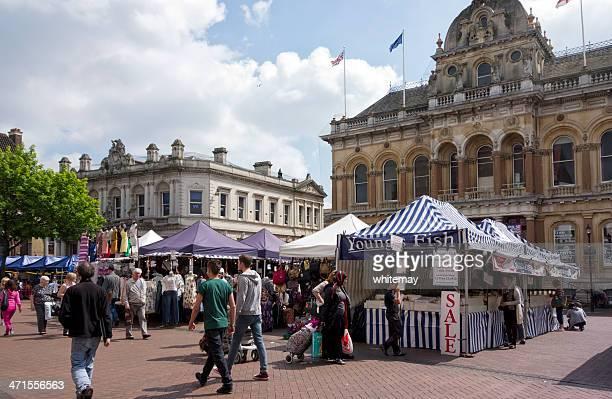 Stalls in Ipswich Market, Suffolk