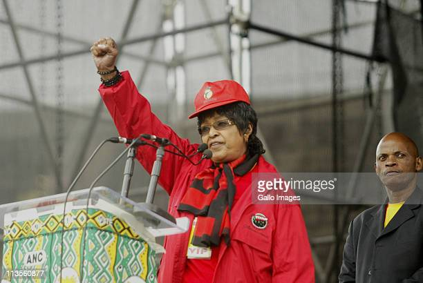 ANC stalwart Winnie MadikizelaMandela addresses the crowd at a rally on Workers' Day in Atteridgeville on May 1 2011 in Pretoria South Africa The ANC...