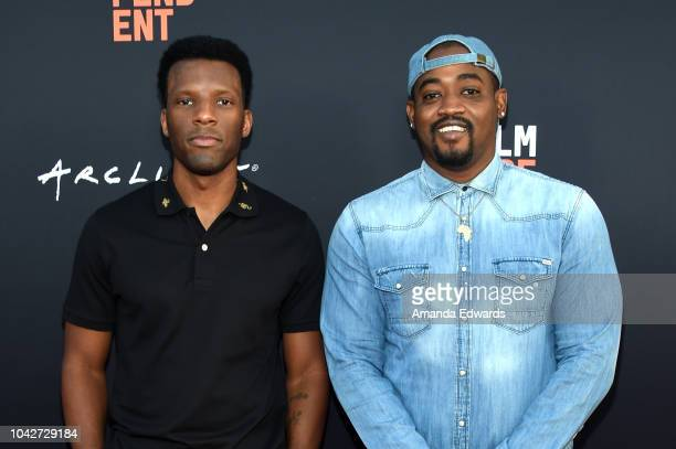 """Stam Goody and Reginald Noble attend the Closing Night Screening of """"Nomis"""" during the 2018 LA Film Festival at ArcLight Cinerama Dome on September..."""