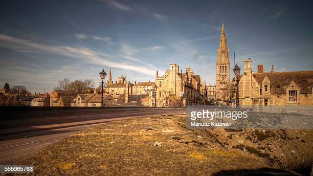 stamford england town bridge and old architecture - lincolnshire stock pictures, royalty-free photos & images