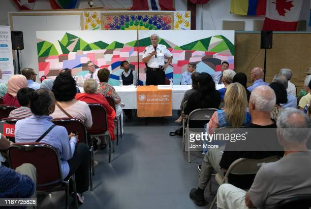 Stamford's acting police chief Tom Wuenneman speaks at a community event held to reassure the city's nervous immigrant community on August 12 2019 in...