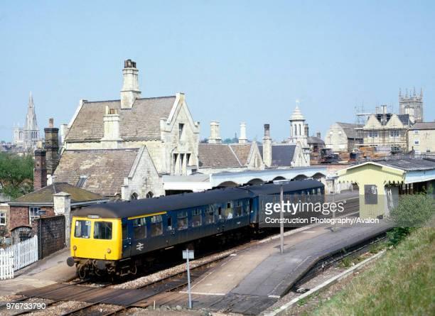 Stamfurd Station.The 14:35 Leicester to Peterborough D.M.U. Arrives at Platform 1. . , United Kingdom.