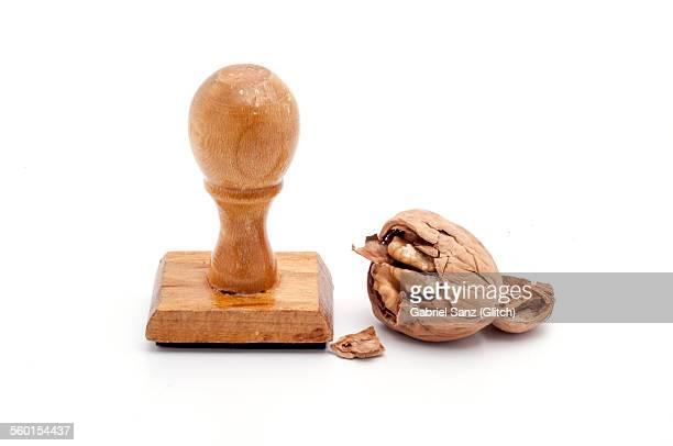 stamp and broken walnut