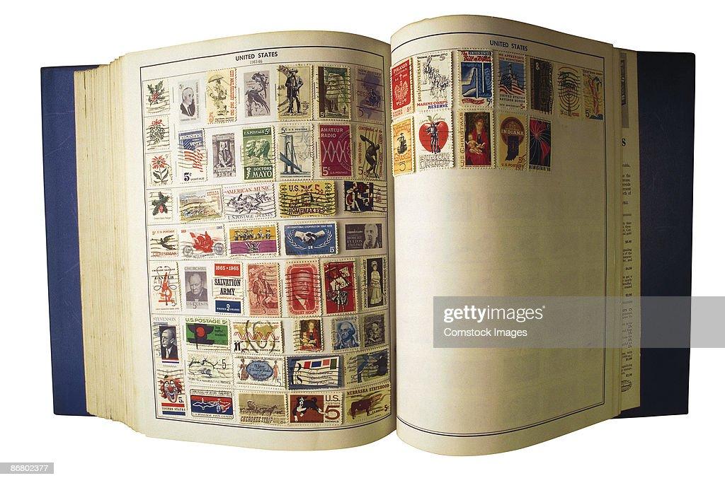 Stamp collection album : Stock Photo