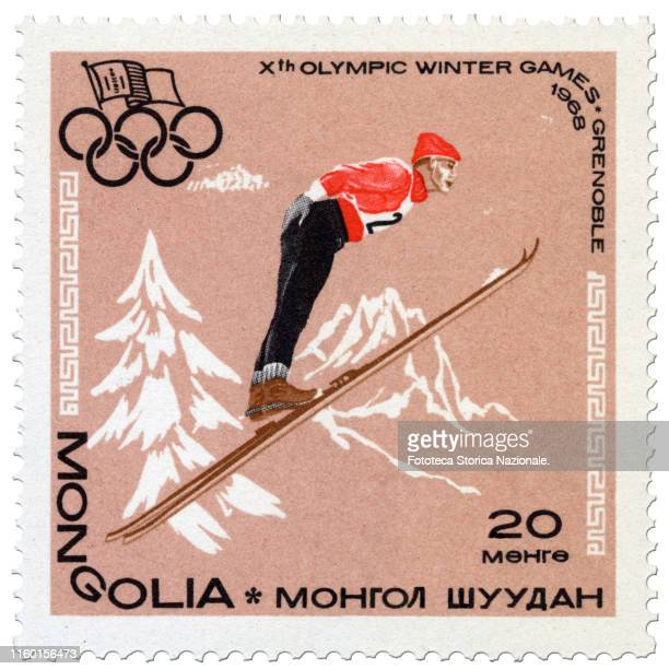 Stamp from the series dedicated to the 10th Olympic Winter Games in Grenoble . The sport depicted is the jump from the trampoline. Issue Poste...