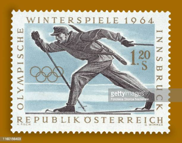 Stamp from the series dedicated to the 9th Olympics worth 1.20 shillings. The sport depicted is cross-country skiing. Postage stamp, Austria,...