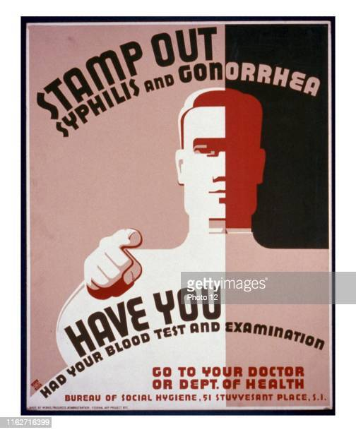 Stamp out syphilis and gonorrhea Have you had your blood test and examination Go to your doctor or Dept of Health Poster issued by the Works Progress...