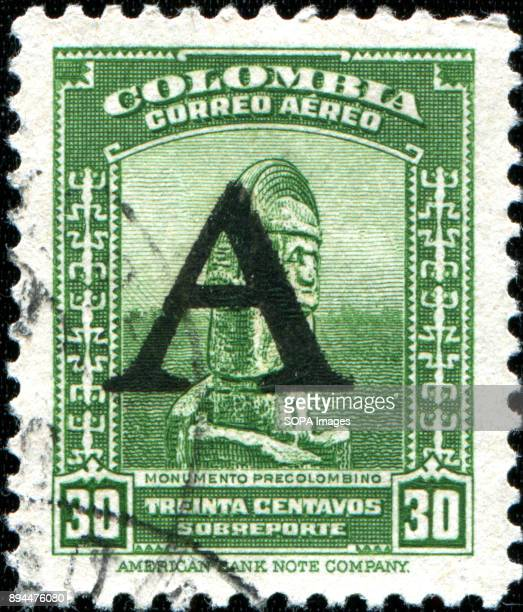 CIRCA 1941 A stamp printed in Colombia shows PreColumbian monuments