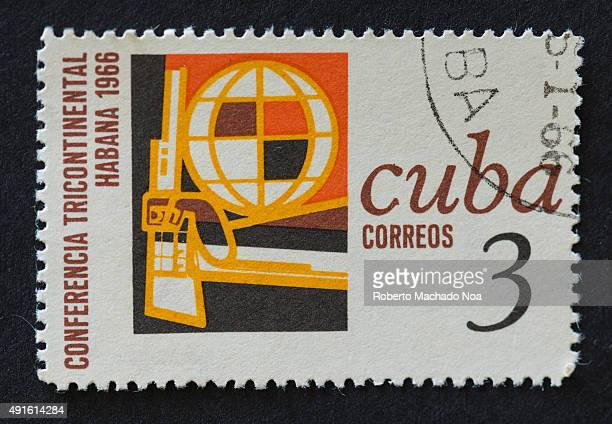 A stamp printed in Cuba shows a three continent conference in Habana in 1966 The main objective was to study the means to defeat the...