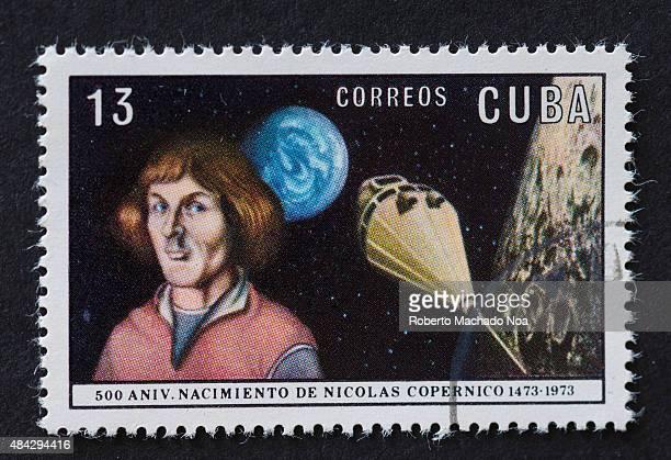CUBA CIRCA 1973 A stamp printed in Cuba shows portrait Nicolaus Copernicus and Copernicus spacecraft series circa 1973