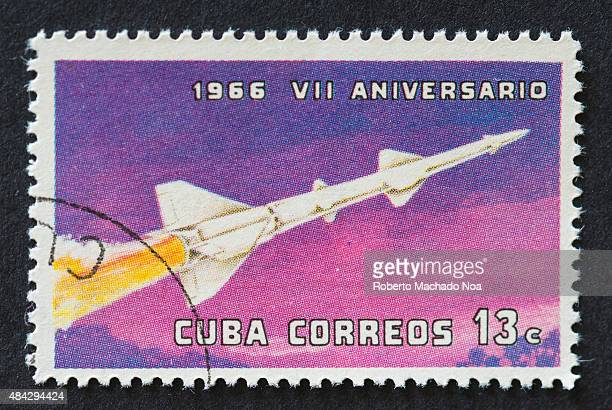 CUBA CIRCA 1966 A stamp printed in Cuba shows Rocket with inscription and name of series 'VII Anniversary of Cuban Revolution 1966' circa 1966
