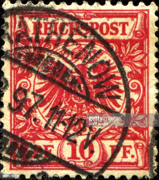GERMANY CIRCA 1884 A stamp printed in Germany shows coat of arms of Germany