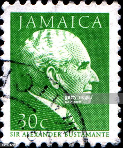 CIRCA 1984 A stamp printed in Jamaica shows graphical portrait of Prime Minister Sir A Bustamante