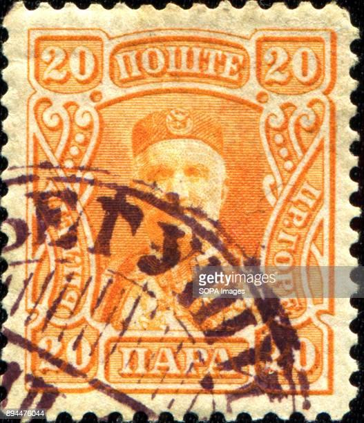 CIRCA 1902 A stamp printed in montenegro shows portrait od King Nikola I Mirkov