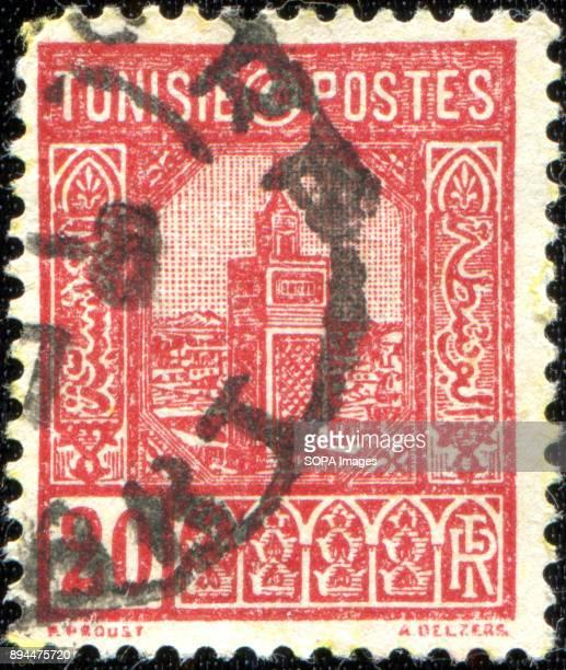 CIRCA 1926 A stamp printed in Tunisia shows Grand Mosque Tunis