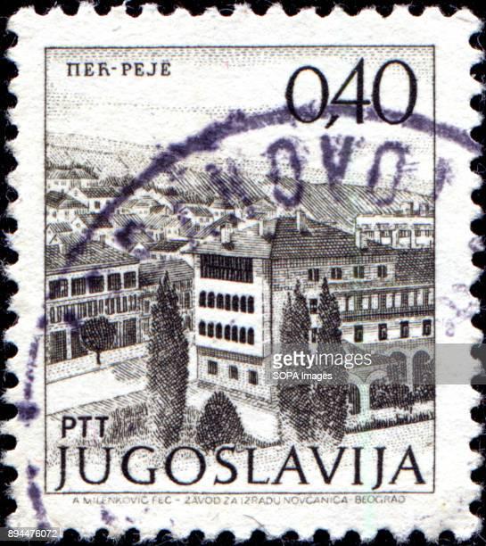 CIRCA 1972 A stamp printed in Yugoslavia shows city view of Per Peje circa 1972