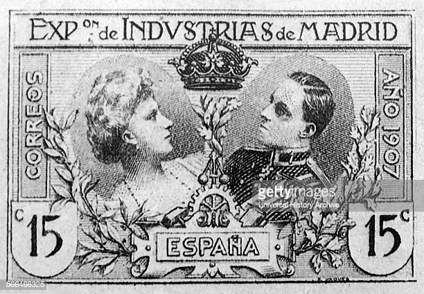 Stamp to mark the Exposition of Industry in Madrid depicting Queen Victoria Eugenie and Alfonso XIII 1886 – 1941 King of Spain from 1886 until 1931