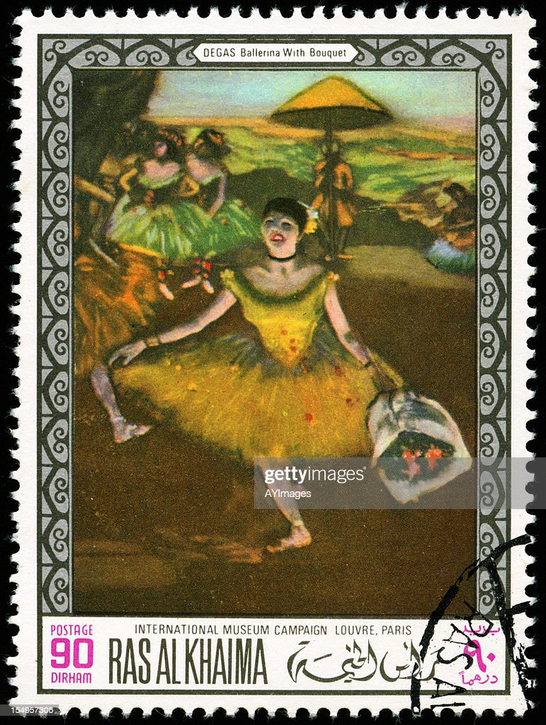 Stamp with painting of a ballerina : Stock Photo