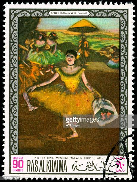 stamp with painting of a ballerina - edgar degas stock photos and pictures