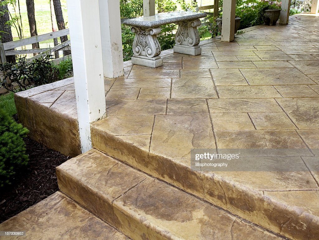 Stamped Concrete Porch And Sidewalk Stock Photo Getty Images