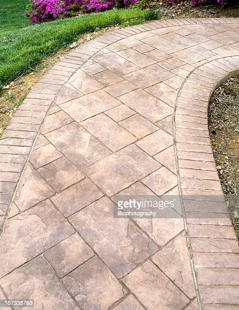 stamped concrete sidewalk - pedestrian walkway stock pictures, royalty-free photos & images