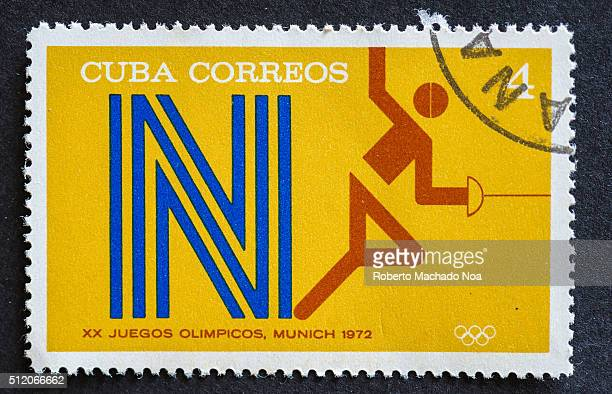 Stamps used for mail by Cuban citizens a series devoted to depict sports played at the 1972 Olympic games held at Munich like fencing
