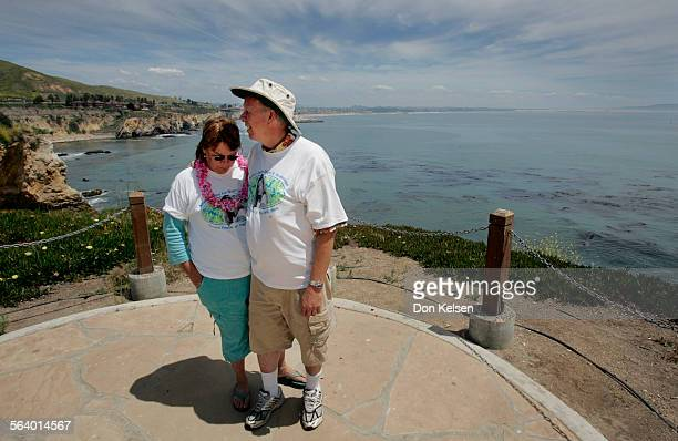 – – Stan and Denise Smart visit the Kristin Smart Point of Hope Overlook at Dinosaur Caves in Shell Beach California The site has formal dedication...