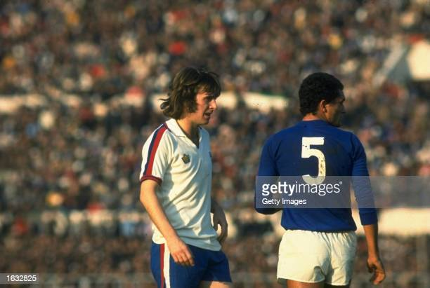 Stan Bowles of England and Claudio Gentile of Italy move into position during a match in Italy. \ Mandatory Credit: Allsport UK /Allsport