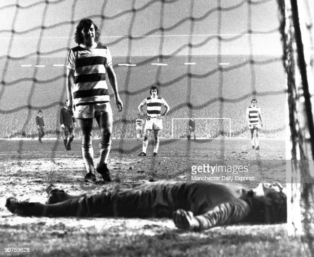�Stan Bowles of QPR and England team mate Ray Clemence the Liverpool keeper share a joke after an incredible save by Clemence but the laugh was on...